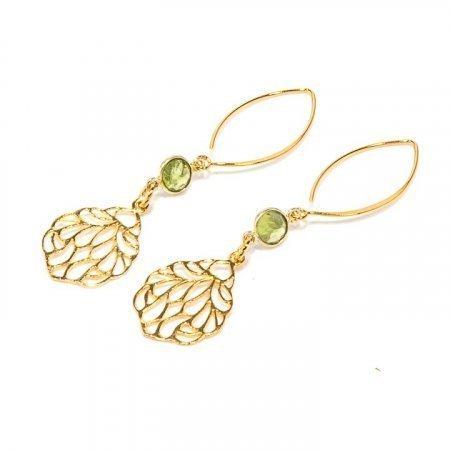 Prehinite with Gold Charm Earrings