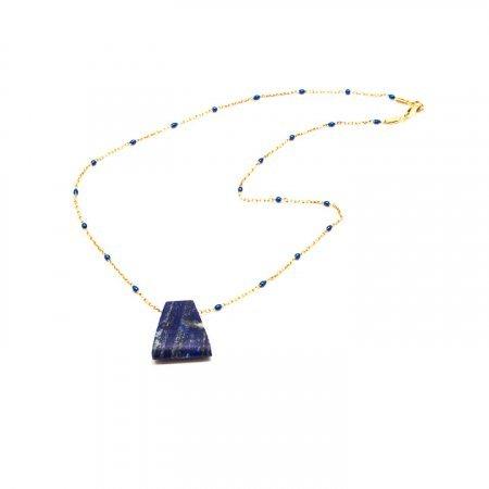 Blue Lapis Trapezoid Pendant Chain Necklace