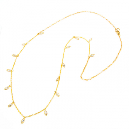 CZ Dangles on Gold Fill Chain